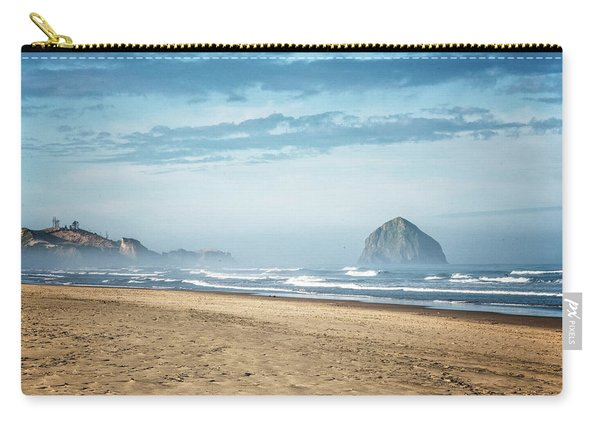 Carry-all Pouch featuring the photograph Haystack Rock Pacific City by Tom Singleton