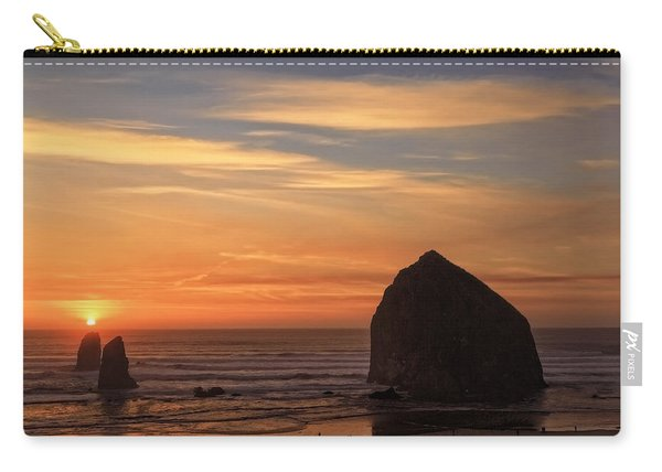 Haystack Rock Ocean Sunset, Cannon Beach, Oregon Carry-all Pouch