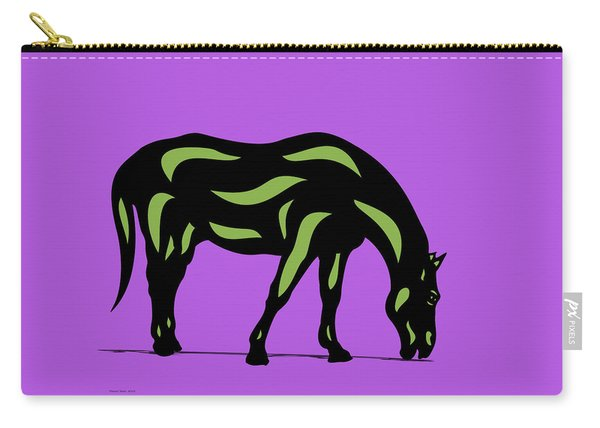 Hazel - Pop Art Horse - Black, Greenery, Purple Carry-all Pouch
