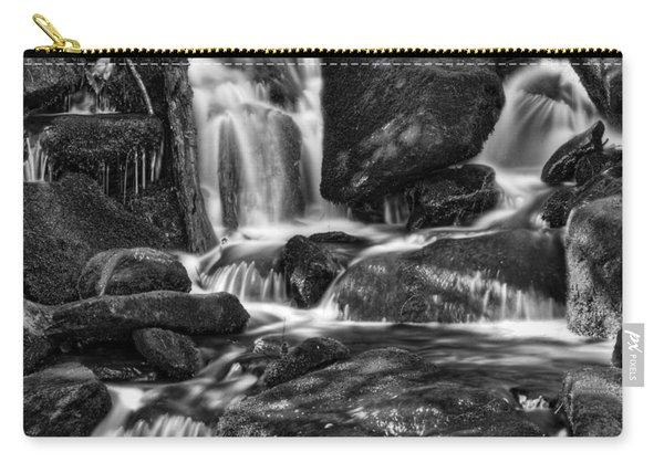 Hd Waterfall In Black And White Carry-all Pouch