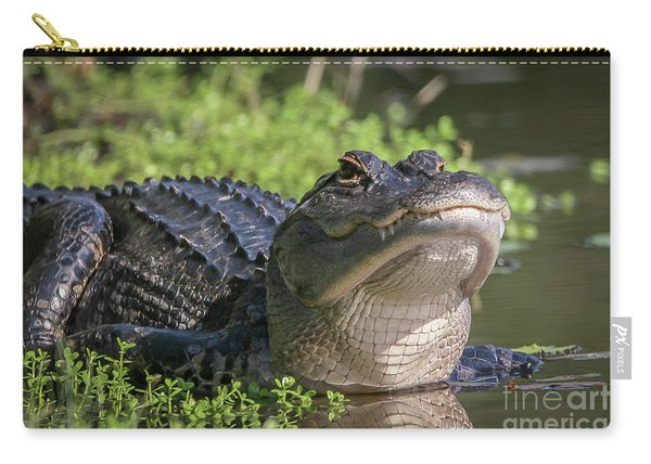 Carry-all Pouch featuring the photograph Heads-up Gator by Tom Claud