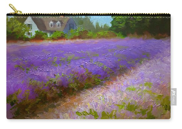 Impressionistic Lavender Field Landscape Plein Air Painting Carry-all Pouch