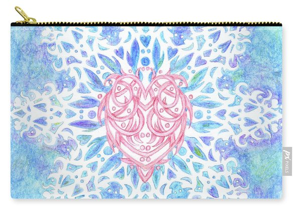 Heart In Snowflake Carry-all Pouch