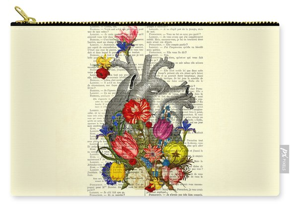 Heart With Colorful Flowers Carry-all Pouch