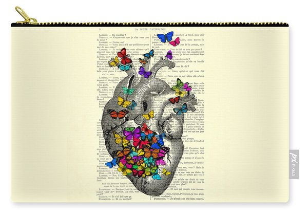 Heart With Rainbow Butterflies Carry-all Pouch