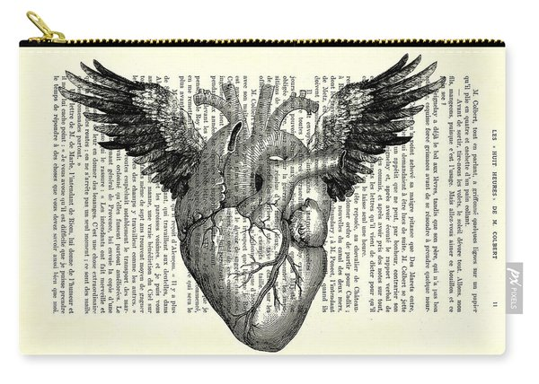 Heart With Wings In Black And White Carry-all Pouch