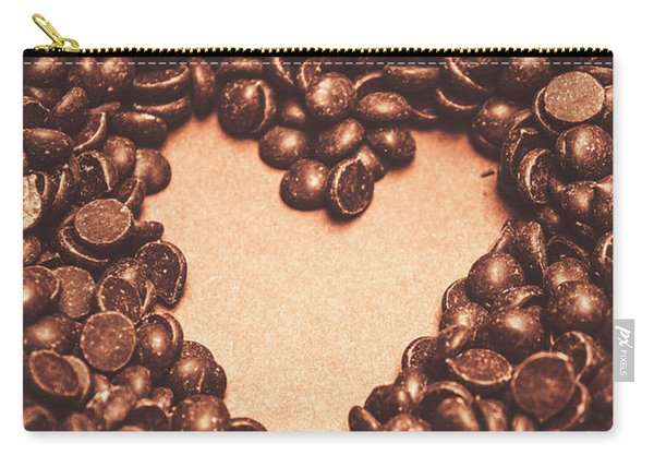 Hearts And Chocolate Drops. Valentines Background Carry-all Pouch