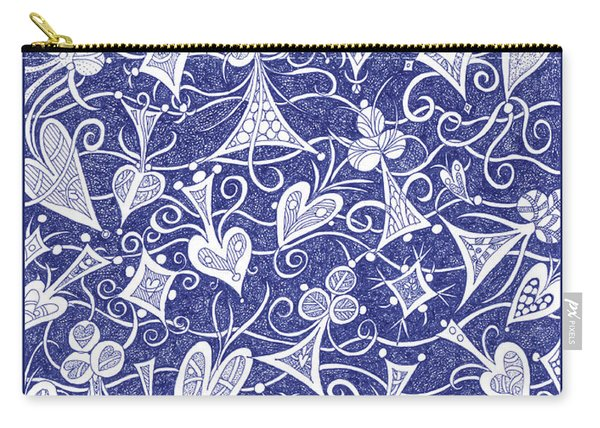 Hearts, Spades, Diamonds And Clubs In Blue Carry-all Pouch