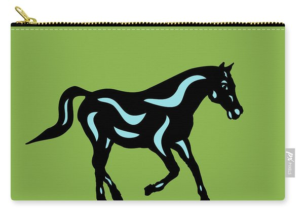 Heinrich - Pop Art Horse - Black, Island Paradise Blue, Greenery Carry-all Pouch