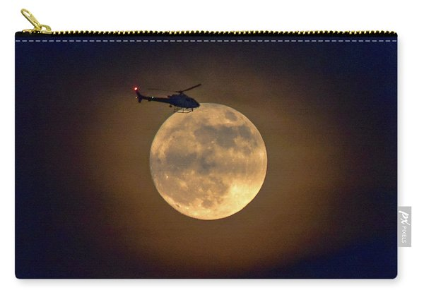 Helicopter Moon And Clouds I Carry-all Pouch