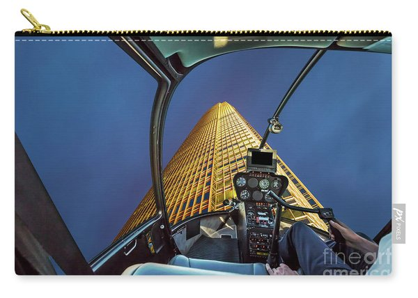 Carry-all Pouch featuring the photograph Helicopter On Skyscaper Facade by Benny Marty