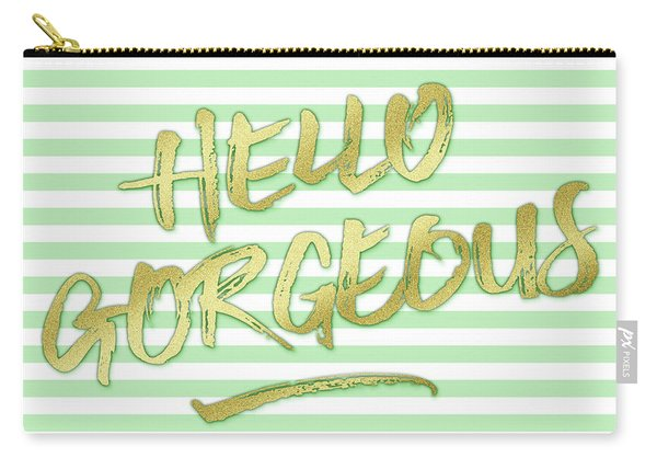 Hello Gorgeous Gold Glitter Mountain Mint Stripes Carry-all Pouch