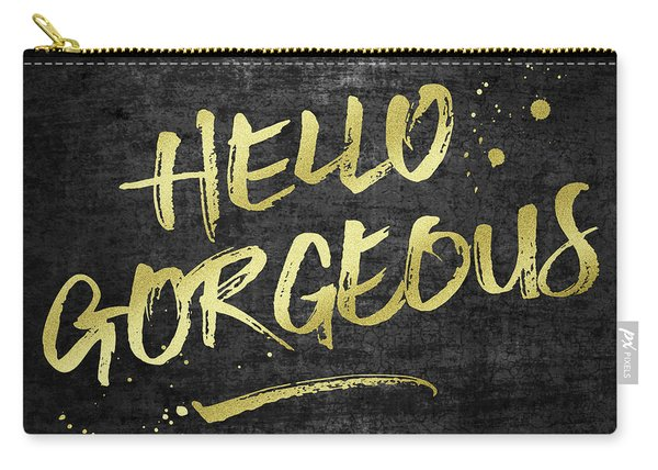 Hello Gorgeous Gold Glitter Rough Black Grunge Carry-all Pouch