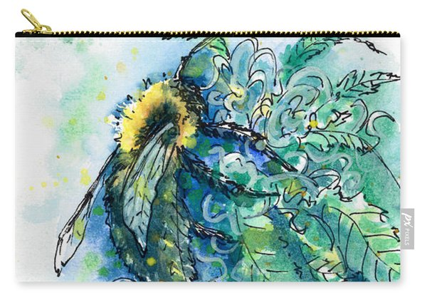 Carry-all Pouch featuring the painting Hemp Flower Honey Bee by Ashley Kujan