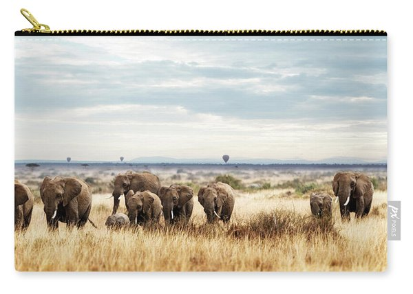 Herd Of Elephant In Kenya Africa Carry-all Pouch