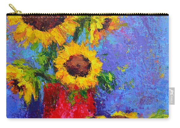 Here Comes The Sunshine Modern Impressionist Floral Still Life Palette Knife Work Carry-all Pouch