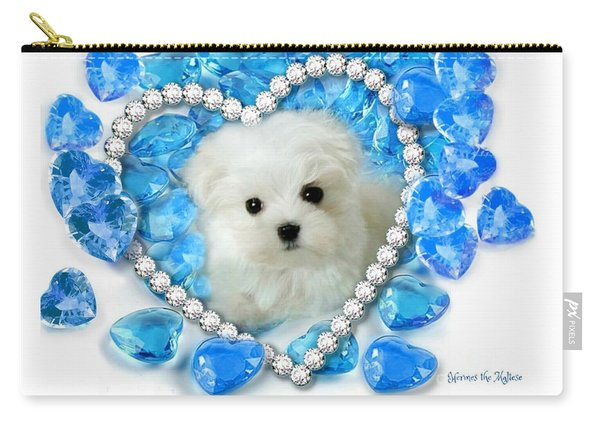 Hermes The Maltese And Blue Hearts Carry-all Pouch