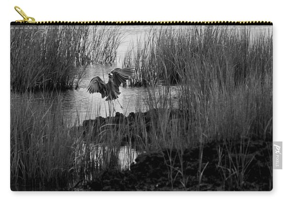 Heron And Grass In B/w Carry-all Pouch