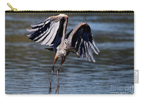 Great Blue Heron In Flight With Fish Carry-all Pouch