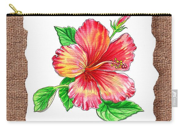 Hibiscus Flower Botanical Carry-all Pouch