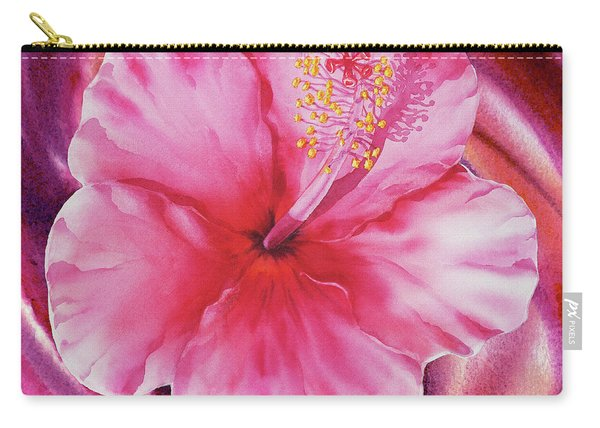Hibiscus Watercolor Vortex Carry-all Pouch
