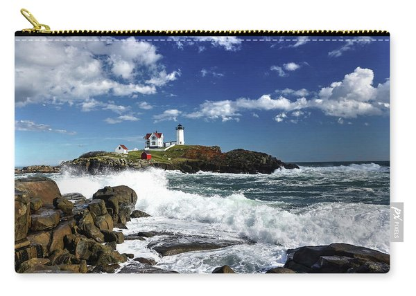 High Surf At Nubble Light Carry-all Pouch