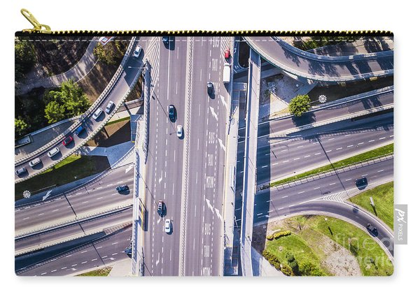 Highway And Overpass With Cars And Trucks, Interchange, Two-lev Carry-all Pouch