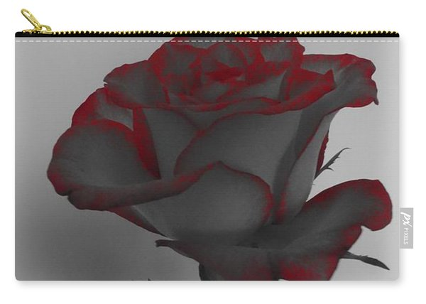 Hints Of Red- Single Rose Carry-all Pouch