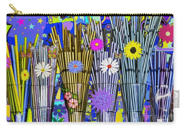 Carry-all Pouch featuring the digital art Hippie Hippie Straws by Eleni Mac Synodinos