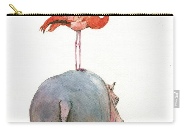 Hippo With Flamingo Carry-all Pouch