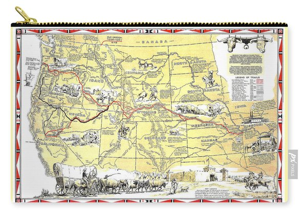 Historic Pioneer Trails Map 1843-1866 Carry-all Pouch