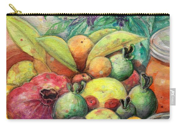 Carry-all Pouch featuring the painting Hitching Post Harvest by Ashley Kujan