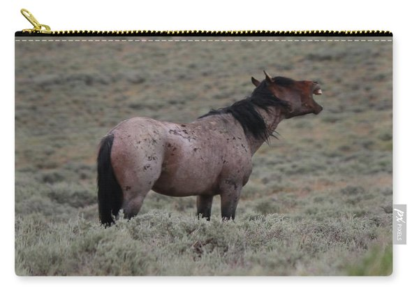 Carry-all Pouch featuring the photograph Hollering Horse by Christy Pooschke