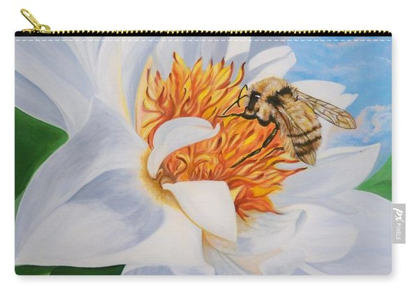 Flygende Lammet Productions     Honey Bee On White Flower Carry-all Pouch