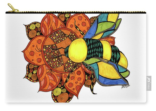 Carry-all Pouch featuring the drawing Honeybee On A Flower by Barbara McConoughey