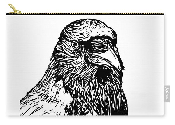 Hooded Crow Line Art Woodcut Type Illustration Carry-all Pouch