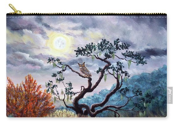 Horned Owl On Moonlit Oak Tree Carry-all Pouch