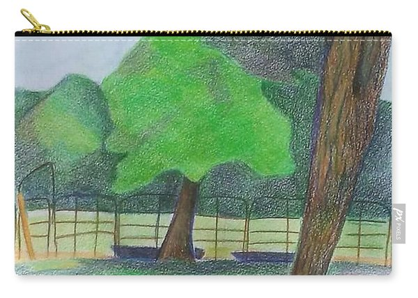 Carry-all Pouch featuring the drawing Horse Field by Loretta Nash