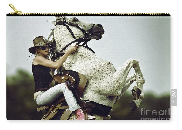 Horse Rearing With Girl Carry-all Pouch