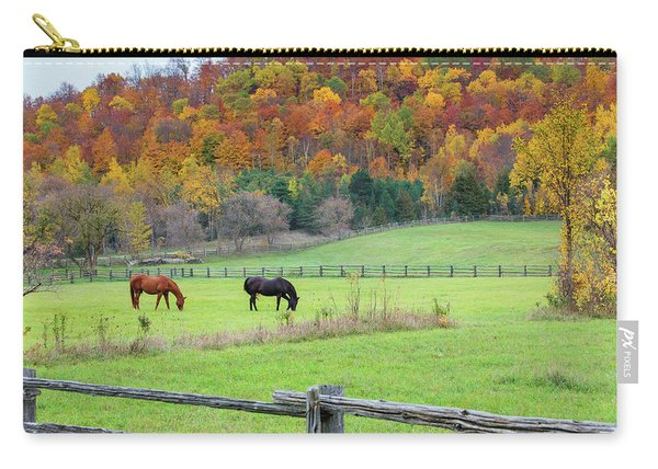 Horses Contentedly Grazing In Fall Pasture Carry-all Pouch