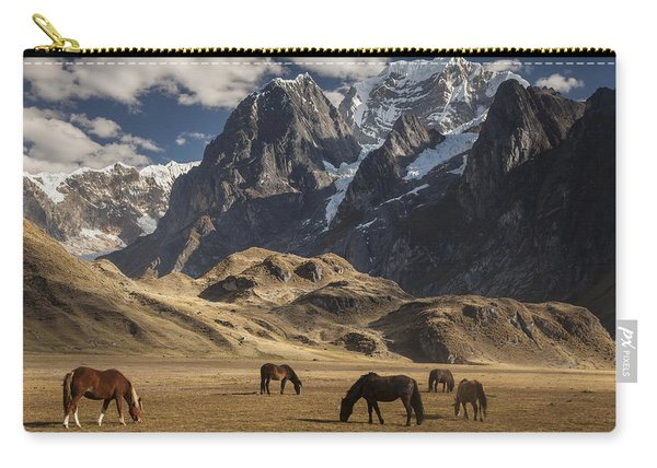Horses Grazing Under Siula Grande Carry-all Pouch