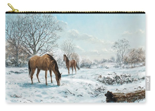 Horses In Countryside Snow Carry-all Pouch