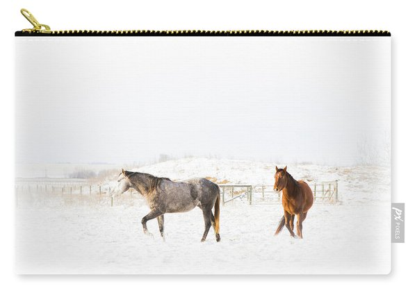 Horses In Snow Carry-all Pouch