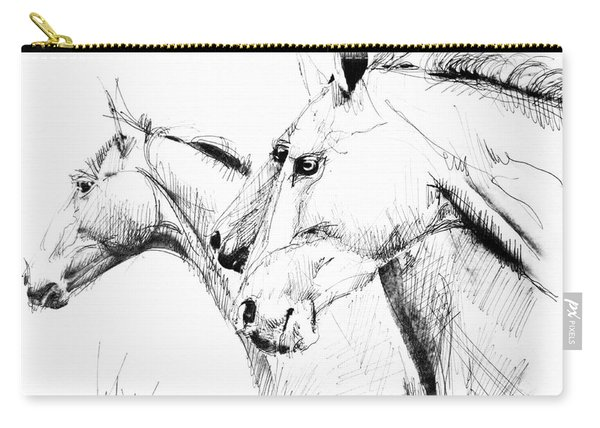 Horses - Ink Drawing Carry-all Pouch