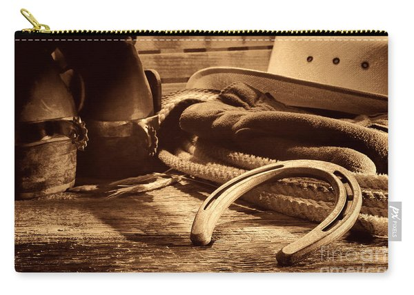 Horseshoe And Cowboy Gear Carry-all Pouch