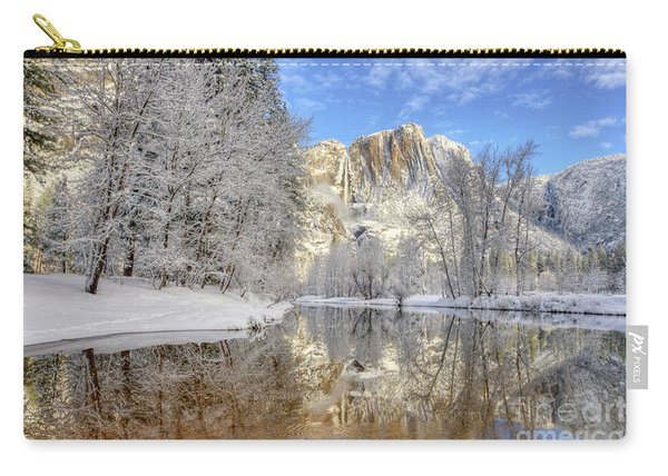 Horsetail Fall Reflections Winter Yosemite National Park Carry-all Pouch
