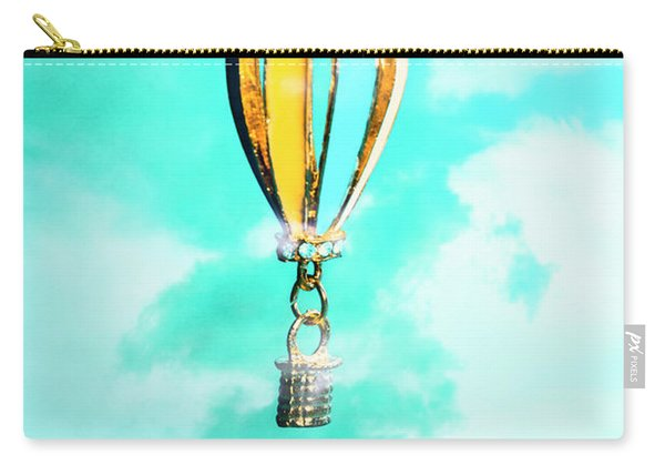 Hot Air Balloon Pendant Over Cloudy Background Carry-all Pouch