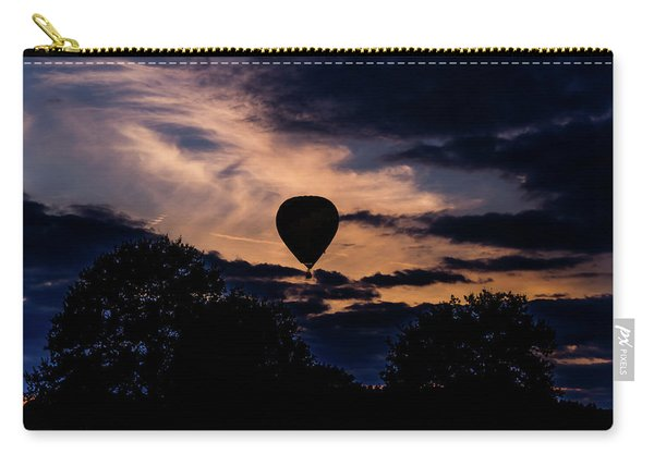 Carry-all Pouch featuring the photograph Hot Air Balloon Silhouette At Dusk by Scott Lyons