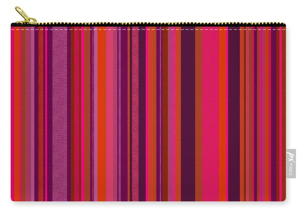 Hot Pink And Orange Stripes - Two Carry-all Pouch