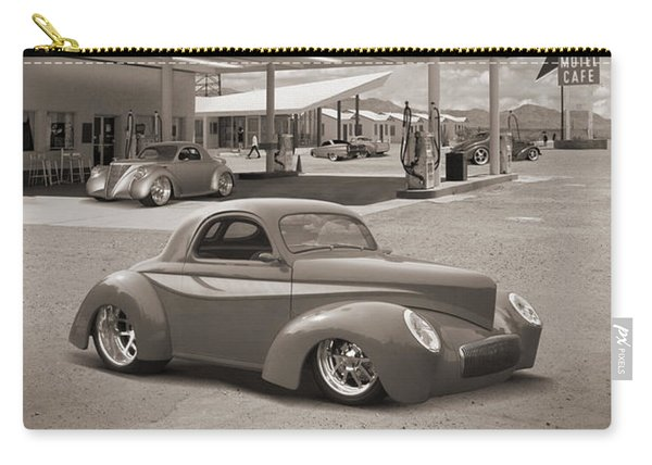 Hot Rods At Roy's Gas Station Sepia Carry-all Pouch